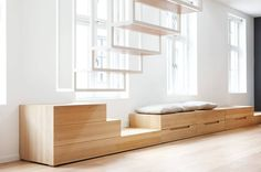 Scandinavian Loft Apartment With White Steel Floating Staircase Wooden Storage B. Scandinavian Loft Apartment With White Steel Floating Staircase Wooden Storage Bench Drawers. home Cabinet D Architecture, Interior Architecture, Interior Design, Nordic Interior, Staircase Architecture, Modern Interior, Loft Spaces, Living Spaces, Living Area