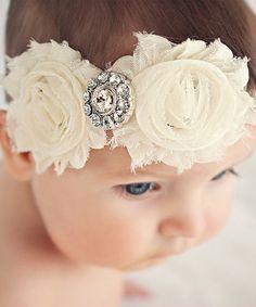 Ella's Bows Ivory Shabby Diaper Cover & Headband
