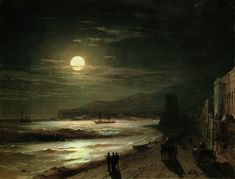 moon night 1885 Romantic Ivan Aivazovsky Russian art for sale at Toperfect gallery. Buy the moon night 1885 Romantic Ivan Aivazovsky Russian oil painting in Factory Price. Moonlight Painting, Moon Painting, Nocturne, Wow Art, Oil Painting Reproductions, Russian Art, Pierre Auguste Renoir, Art Photography, Scenery