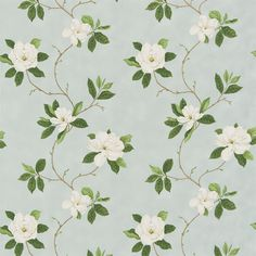 Sweet Bay by Sanderson - Ivory / Green : Wallpaper Direct Green Curtains, Curtains With Blinds, Sanderson Fabric, Illustration Blume, House Blinds, Magnolia Trees, Summer Prints, Fabric Wallpaper, Bedroom Wallpaper