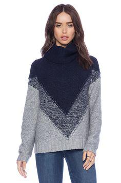 Autumn Cashmere Boxy Chevron Cowl Sweater in Nickle & Peacoat