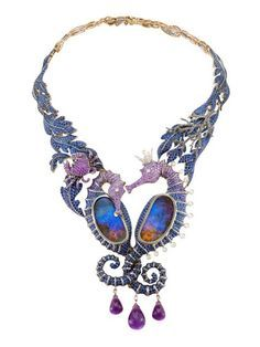Necklace Lydia Courteille Under the Sea necklace with opals, sapphires, amethysts and diamonds. - Parisian designer Lydia Courteille transforms seahorses and crabs into theatrical jewels featuring opals that resemble portals into a deep-sea world. Opal Jewelry, Jewelry Art, Fine Jewelry, Fashion Jewelry, Jewelry Design, Jewelry Necklaces, Bling, Sapphire Necklace, Schmuck Design