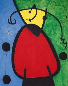 Joan Miró (1893-1983)  Femme et oiseaux dans la nuit  signed 'Miró' (lower right); signed again, dated and titled 'MIRO. 26/III/68 FEMMES ET OISEAUX DANS LA NUIT' (on the reverse) oil on canvas  63¾ x 51 1/8 in. (161.5 x 130 cm.)  Painted on 26 March 1968