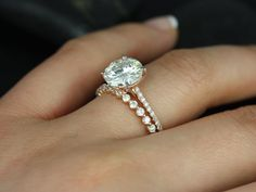 Rosados Box Eloise 9mm & Petite Bubble Breathe FB Moissanite and Diamonds Cathedral Wedding Set