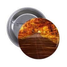 St Joseph Island roadway in full Fall colour 2 Inch Round Button