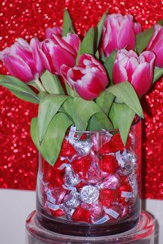 Valentine's Day arrangement tulips candy kisses