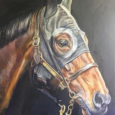 Winx with hood. Oils on canvas AVAILABLE Photo credit:Sharon Chapman #winx #chriswallerracing #horse #horses #horselover #horsesofinstagram #hughbowman #animalsofinstagram #equineart #equinesofinstagram #coxplate #horseylicious