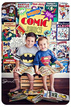 Be Inspired: Books » Confessions of a Prop Junkie. Family Photography | Portraits | Photo Session Inspiration | Pose Idea | Poses | Comic Books | Super Hero | Brothers | Siblings