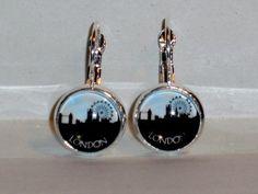 Ohrringe und Ohrstecker im Onlineshop - Verrückte Ohrringe und Schmuck Welt  - Ohrringe Skyline London Glas handgemacht Ø 14 mm Inklusive Fassung Neuware