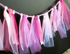 Pink Tulle Garland, Ribbon Garland, Bachelorette Party Decor, Shower Decor, Bridal Shower, Wedding Decor, Fabric Garland, Baby Shower Decor by SuspendedStar on Etsy