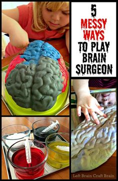 Play Brain Surgeon! Five messy and spooky ways to learn about the brain. Slime, Ice, erupting brains... Perfect for Halloween or Mad Scientist parties!