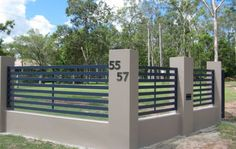 Horizontal Slat Fence Panels with wide gap - Brisbane Gates Slatted Fence Panels, Horizontal Slat Fence, Aluminium Gates, Aluminum Fence, Fence Wall Design, Fence Design, Timber Fencing, Metal Fence, Backyard Fences