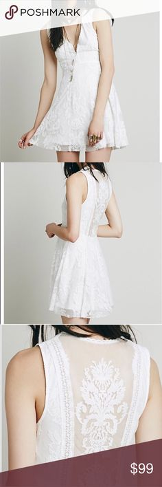 Free People white Reign over me dress Perfect condition Free People Reign Over me white dress. Sleeveless lace dress, worn 2x in great condition. Sheer lace back. Free People Dresses Mini