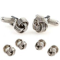 Silver Metal Knot Cufflinks Tuxedo Stud Sets
