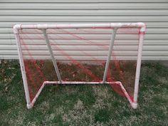 Easy PVC pipe soccer goal! I need my husband to make this for Dakota!! :)