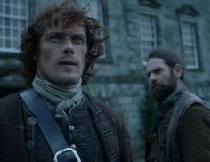 "Jamie Fraser (Sam Heughan) and Murtagh (Duncan LaCroix) in Episode 213 ""Dragonfly In Amber"" Outlander Season Two Finale on Starz via https://outlander-online.com/"