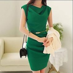 Women's Cowl Chiffon Solid Color Dress with Belt  – MXN $ 411.29