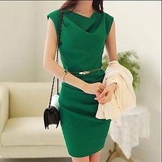 Gasa medida Vestido del color sólido de las mujeres - USD $ 27.29