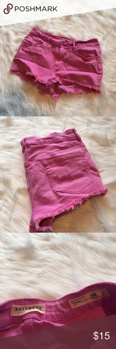 Bullhead High-Rise Pink Denim Shorts Bullhead High-Rise Pink Denim Shorts. Frayed hem. Bright vibrant color. Get your summer wardrobe ready! Excellent used condition - no flaws. **Smoke free home. Ask questions. Bundle to save both on shipping and total price. Serious and reasonable offers only (no more than 10% of listing price). Not interested in trades ATM. Sharing is caring!** Bullhead Shorts Jean Shorts