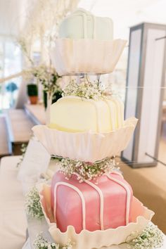 Giant Fondant Fancy wedding cake - what dreams are made of!