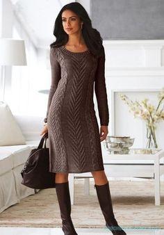 Красивое вязание | Стильное вязанное платье.