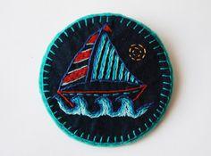 Sailing Boat Felt Brooch