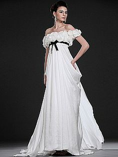 Empire Style Floral Off the Shoulder Flowing Satin Chiffon Bridal Gown - USD $258.86