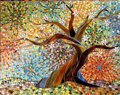 Bonsai Card – Mosaic Art – Bonsai Tree Card – Stained Glass Tree – Tree of Life Card – Folk Art Card – Japanese Tree Card – Tree of Life Art Mosaic Tree Greetings Card from an original by LAMosaicGifts Paper Mosaic, Mosaic Crafts, Mosaic Art, Mosaic Glass, Glass Art, Glass Tiles, Tree Of Life Art, Tree Art, Japanese Tree