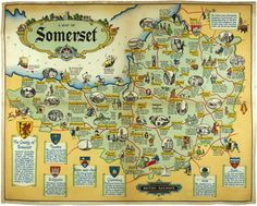 J. P. Sayers. Map of Somerset, British Railways.  1020 x 1270 mm.  Original lithograph in colours, published by Railway Executive (WR), printed by Jordisan & Co., UK, c.1948. #map  Original lithograph in colours, published by Railway Executive (WR), ...