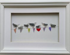 Quirky Art From The Coast, Sea Glass, Wall Art, Sea Glass Art, Sea gulls on Bunting, Pebble Picture, Picture Frame, Beach Art, Red Knickers,