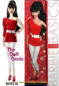 Great Deals on Barbie Dolls at the Doll Genie Barbie 2000, Barbie And Ken, White Belt, White Denim, Girl Dolls, Barbie Dolls, Barbie Basics, Long Ponytails, Red Pumps