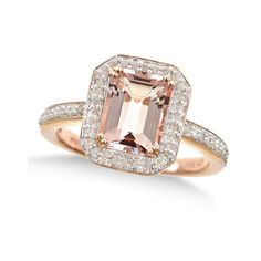 Allurez Halo Morganite & Diamond Ring 14k Rose over Sterling Silver... ($495) ❤ liked on Polyvore featuring jewelry, rings, rose, rose diamond ring, round ring, 14 karat gold ring, sterling silver rings and anniversary rings