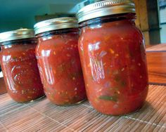 "Pinner says ""Wonderful Salsa--this is the ONLY salsa I will can; it is SO good. It's a tried and true recipe, and you will love it!"" We'll see if it's better than mine..."