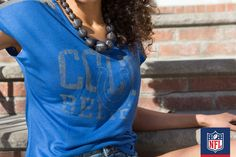 What's the perfect way to compliment this blue Colts tee? A statement necklace.