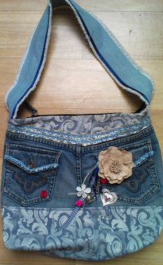 A bag I made from my old jeans and old curtain :)