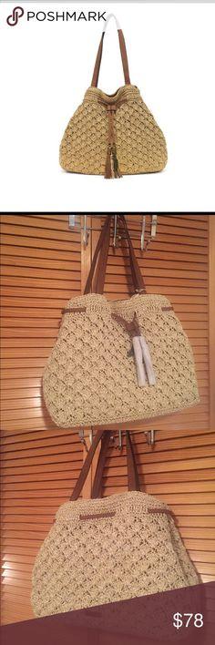Jessica Simpson Beige Crochet Luann Bag Magnetic snap closure Drawstring closure Imported 2 interior slip pockets 1 back zip pocket Jessica Simpson Bags Totes