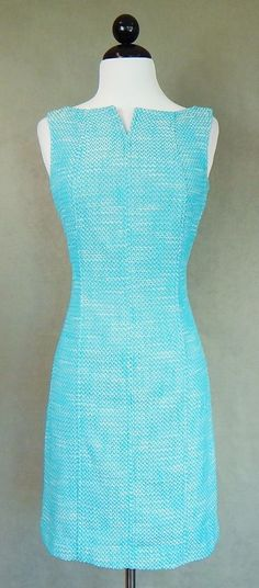 TALBOTS $180 Aqua Blue White Tweed Notched Collar Fitted Sheath Dress Size 6P #Talbots #Sheath #WeartoWork