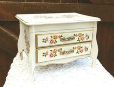 Original Vintage Flower White Jewelry Box by FabulousFoxyDarling, $35.00
