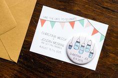 Mason Jar Save the Date Wedding Magnet, Rustic Invitation, Mason Jar Invite, Country Chic, Bunting Invitation, Pink Polka Dots