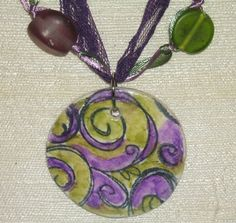 Purple and Green Paisley Watercolor Air Dry Clay Pendant Ribbon Lace by radwrapz, $12.00