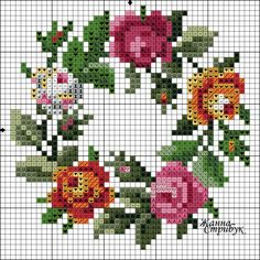 Roses wreath chart
