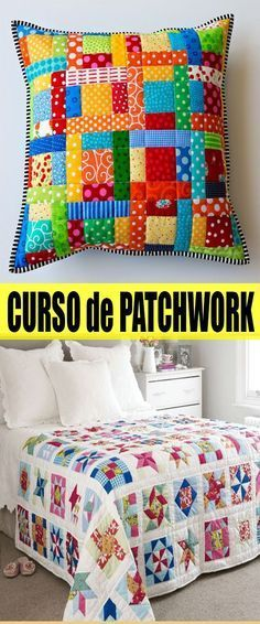 Curso Básico Gratis Online de Patchwork - Best Sewing Tips Sewing Pillows, Diy Pillows, Cushions, Quilt Baby, Scrappy Quilts, Patchwork Quilting, Patchwork Blanket, Patchwork Ideas, Patchwork Patterns