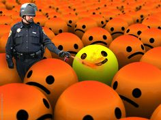 """Pepper Spraying Cop Sprays Last Happy Face"". Photo Manipulation. 2012."