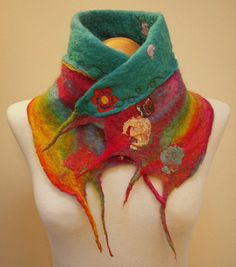 Rainbow Scarflette with homemade button