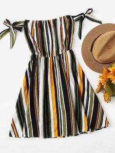 Multi-Stripe Tie Detail DressFor Women-romwe - Multi-Stripe Tie Detail DressFor Women-romwe Source by ilcarnefice - Teen Fashion Outfits, Mode Outfits, Cute Fashion, Dress Outfits, Girl Outfits, Fashion Dresses, Fashion Women, Cute Casual Outfits, Cute Summer Outfits