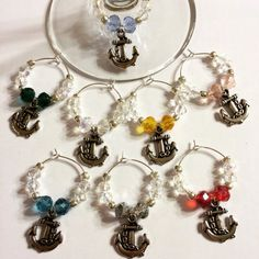 Anchor Wine Charms by FuzzHeadCrafts on Etsy