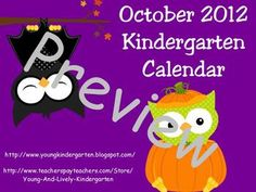 $5 October 2012 Kindergarten Calendar for ActivBoard includes interactive activities with fun and engaging sounds