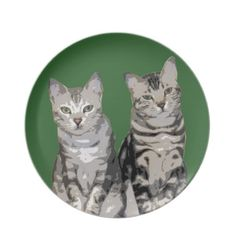 Forest Green Marble Bengal Plate  Two mischievous Bengal sisters got their eyes on you with this cute Bengal plate. #bengalcats #bengals #plates #dinnerware #artwork #art #cats #cat #kittens #kitty #kitten #bengalcat