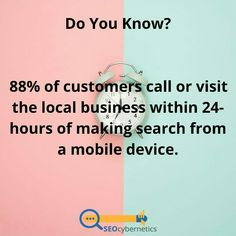 Do You Know? 88% of customers call or visit the local business within 24-hours of making search from a mobile device. Seo Services Company, Best Seo Services, Seo Company, Internet Marketing Seo, Seo Marketing, Digital Marketing Strategy, Website Analysis, Marketing Approach, Seo Consultant