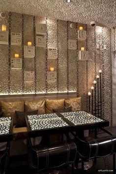 Pebble walls at Palmilla restaurant in Hermosa Beach designed by Gulla Jonsdottir